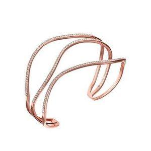 Michael Kors Rose Gold Crystal CZ Cuff 3 Wave